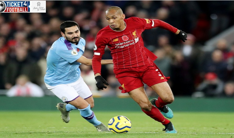 Liverpool's Fabinho in action with Manchester City's Ilkay Gundogan Action