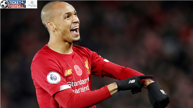 Fabinho celebrates scoring Liverpool's opener with a fearsome strike moments after Manchester City thought they should have had a penalty