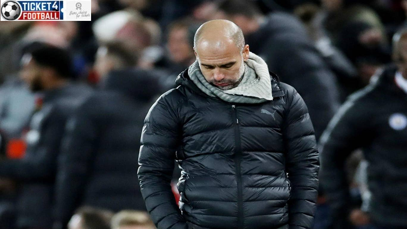 Guardiola gestures to the fourth official his belief that Man City should have been awarded two penalties